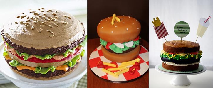 Pastel en forma de hamburguesa
