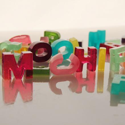 Jello shot  gelatina en forma de letras