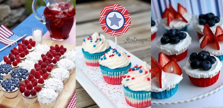 Cupcakes con los colores de eeuu