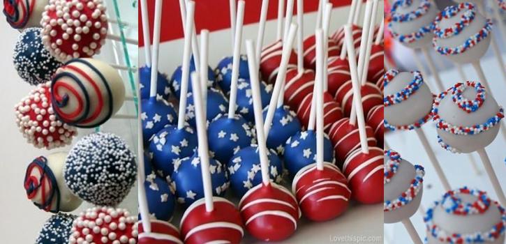 Cake pops de la bandera de eeuu